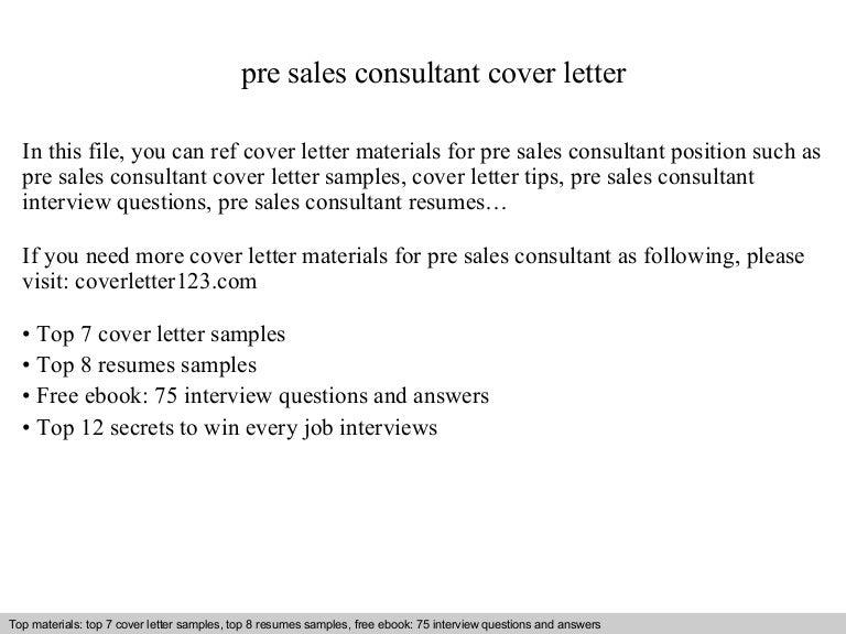 Pre sales consultant cover letter