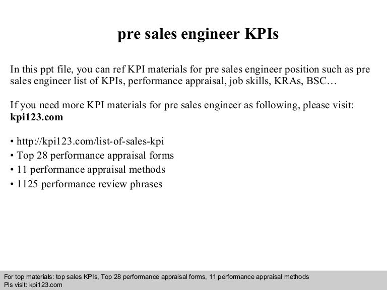 Pre sales engineer kpis – Sales Engineer Job Description