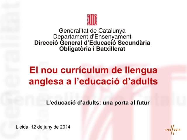 Presentació currículum llengua anglesa jornada lleida