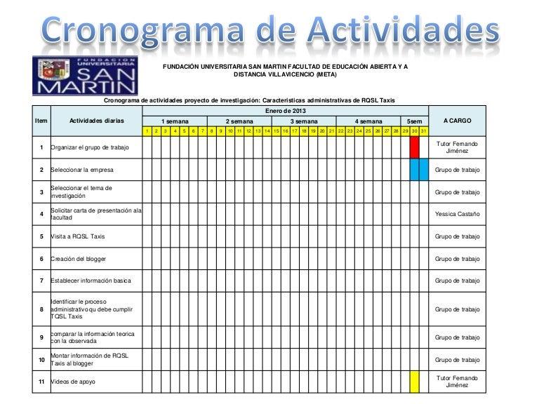 presentaci u00f3n cronograma de actividades