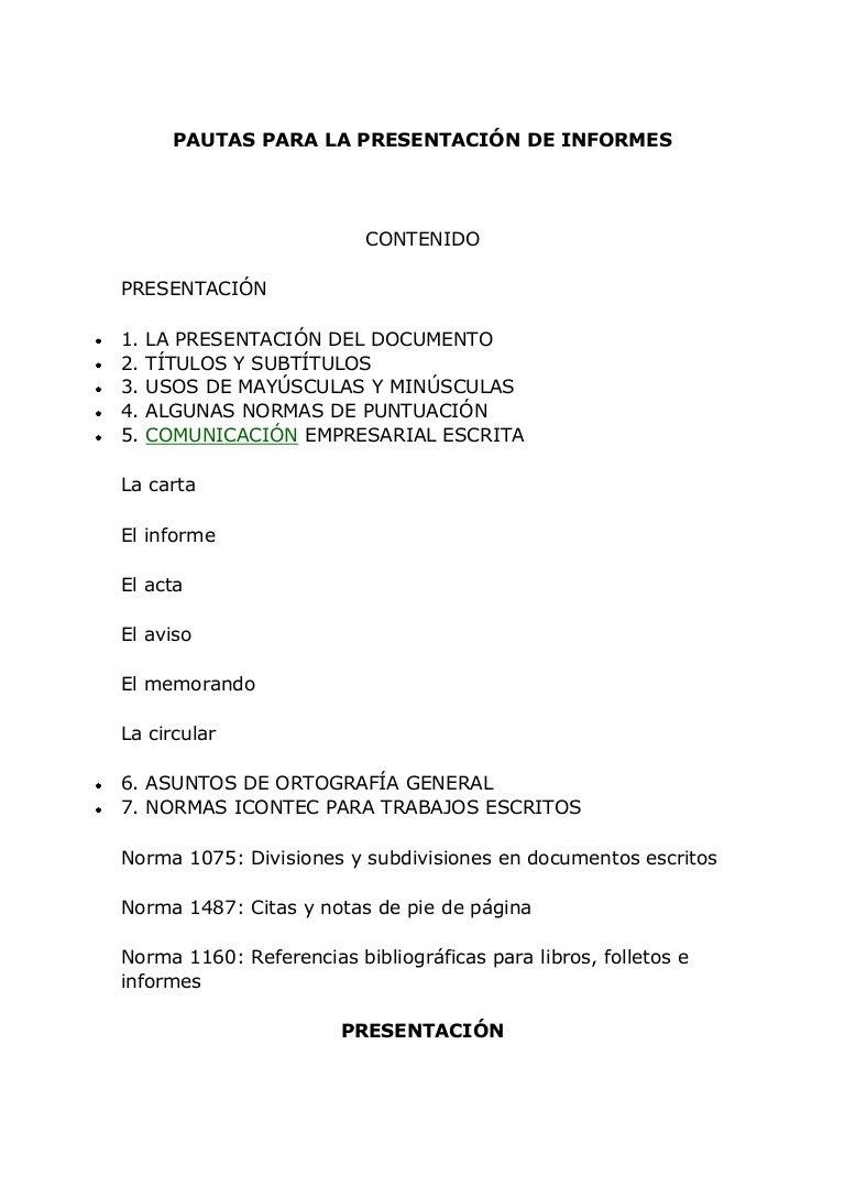 Presentación de informes normas icontec