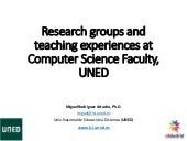 Research groups and teaching experiences at Computer Science Faculty (UNED)