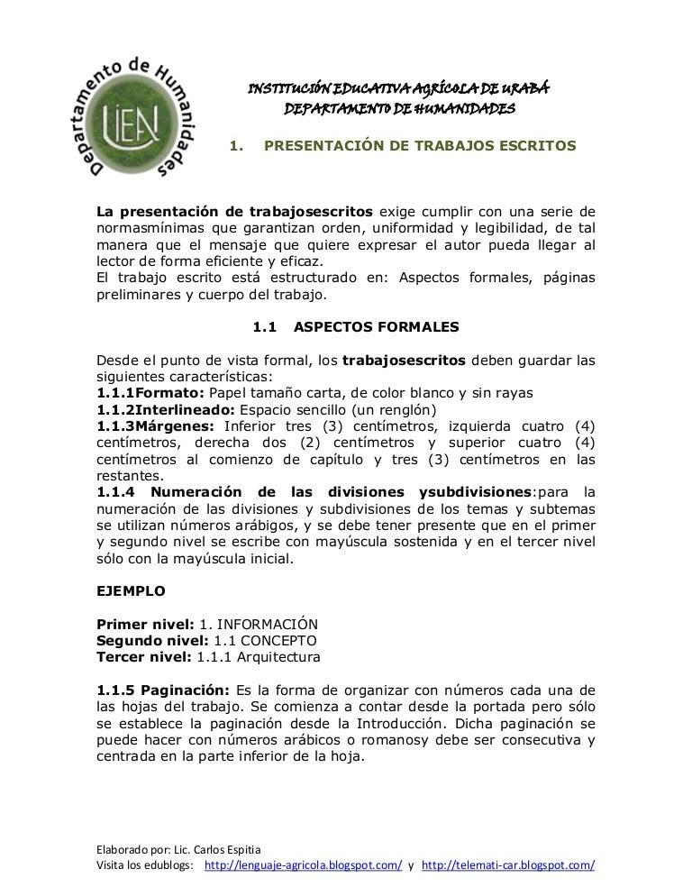 Presentacion de trabajos escritos (acuerdos) - photo#49