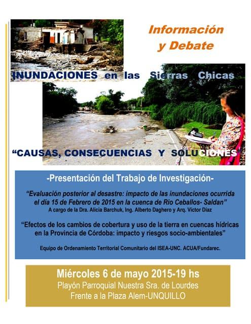 Presentación del Informe sobre Inundaciones en Sierras Chicas de Córdoba