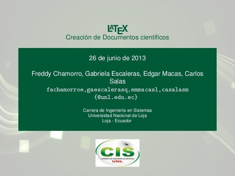 Latex - Creación de documentos cientificos