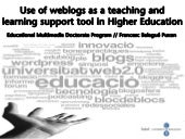 Use of weblogs as a teaching and learning support tool in Higher Education