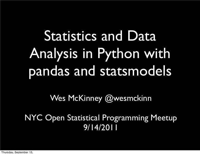Data Analysis and Statistics in Python using pandas and statsmodels