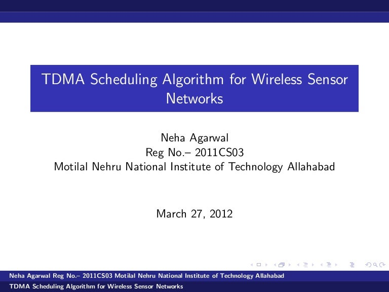 tdma schleduling in wireless sensor network, Presentation templates