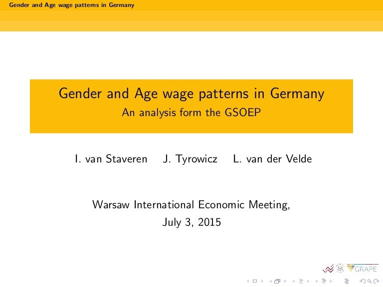 Gender and Age wage patterns in Germany