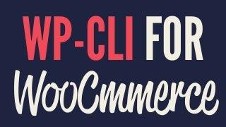 WooCommerce WP-CLI Basics