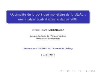 Optimalité de la politique monétaire de la BEAC