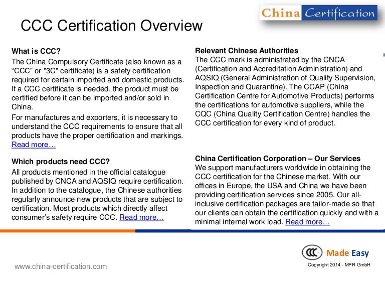 Ccc 3c China Compulsory Certificate