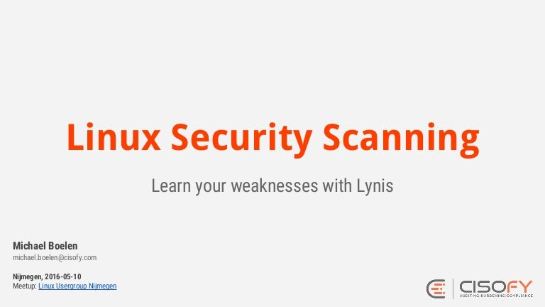 Linux Security Scanning with Lynis