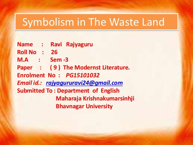 Symbolism In The Waste Land