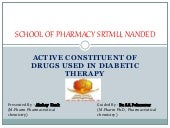 Active constituent of drugs used in diabetic therapy