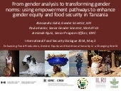 Gender: From gender analysis to transforming gender norms: using empowerment pathways to enhance gender equity and food security in Tanzania