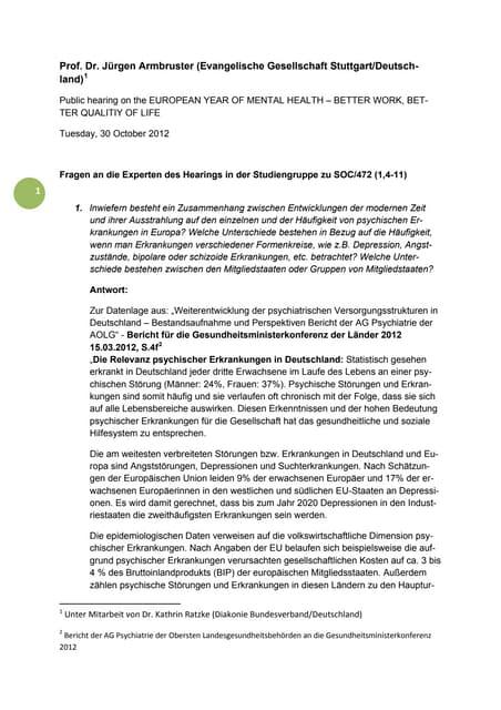 Fragen an die Experten des Hearings in der Studiengruppe zu SOC/472 (1,4-11)