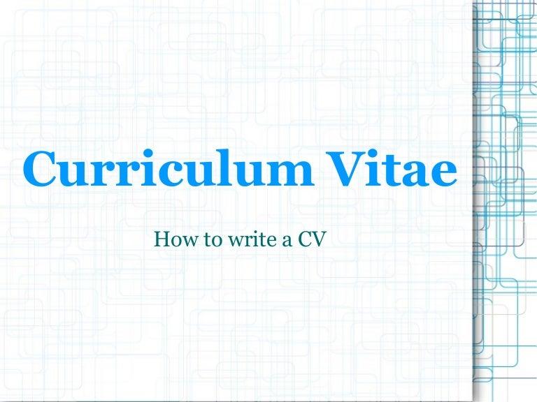 presentation cv - Cv And Resume Writing Ppt