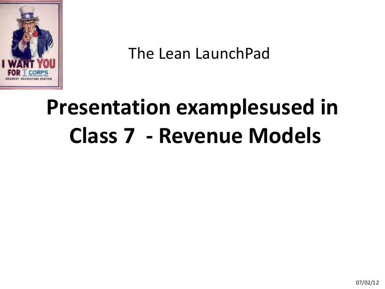 Presentation examples for class 7 revenue models