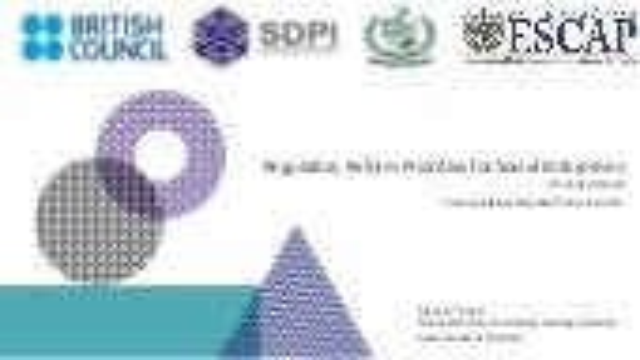 Regulatory Reforms for Social Enterprises