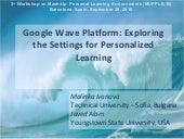 Google Wave Platform: Exploring the Settings for Personalized Learning