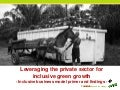 Leveraging the private sector for inclusive green growth: Inclusive business model primer and findings