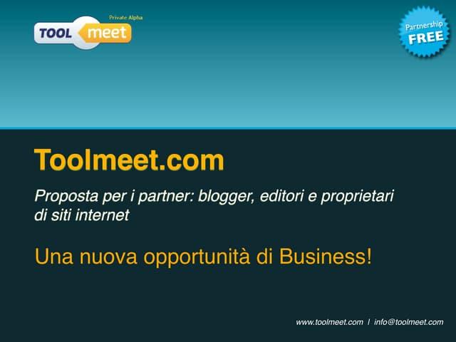 Presentazione toolmeet partner