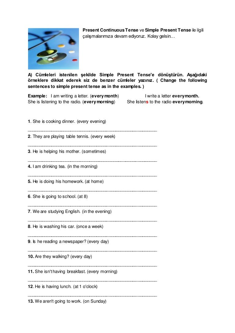 Workbooks identifying noun worksheets : Present continuous & simple present 2