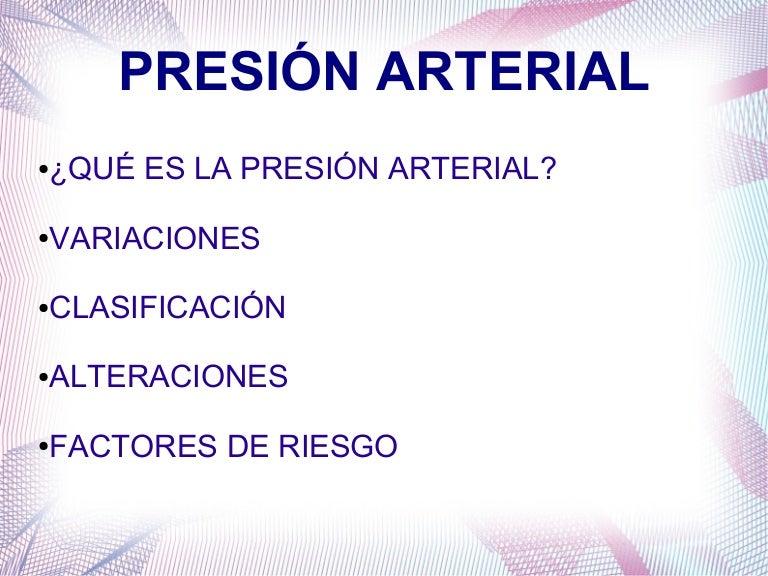 Variaciones en la presion arterial