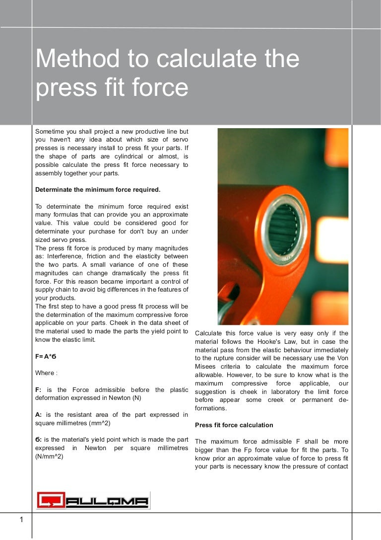 Press fit force calculation