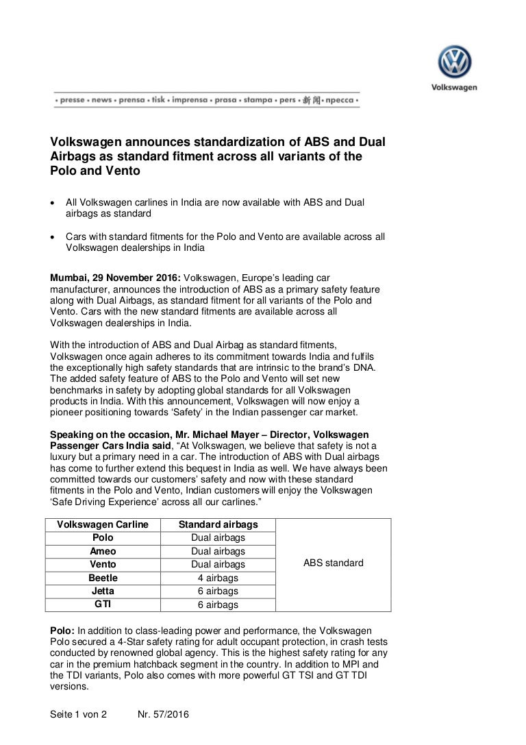 new car dealership press releaseVW Polo Vento ABS Airbags standard  Press Release