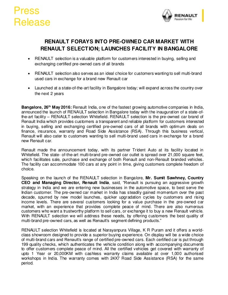 new car press releaseRenault India Used Cars Launch  Press Release