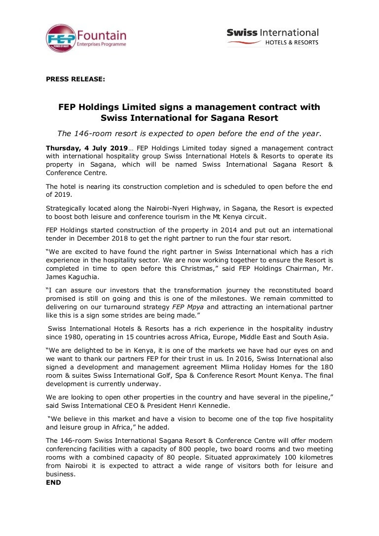 Press release- Signing Ceremony for Swiss International