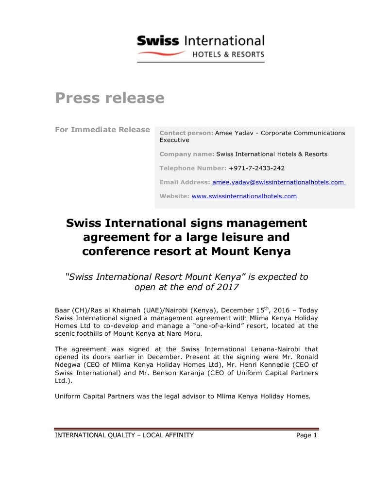 Swiss International Signs Management Agreement For A Large Leisure An