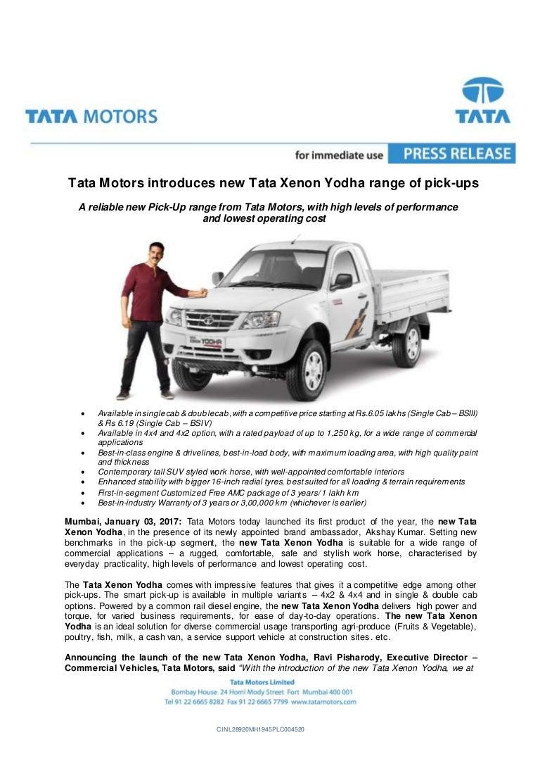 new car launch press releaseTata Xenon Yodha Launch  Press Release