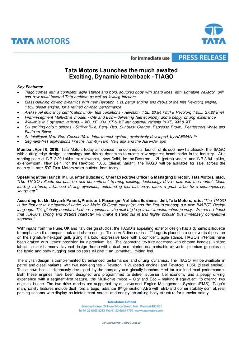 new car launch press releaseTata Tiago Launch Press Release