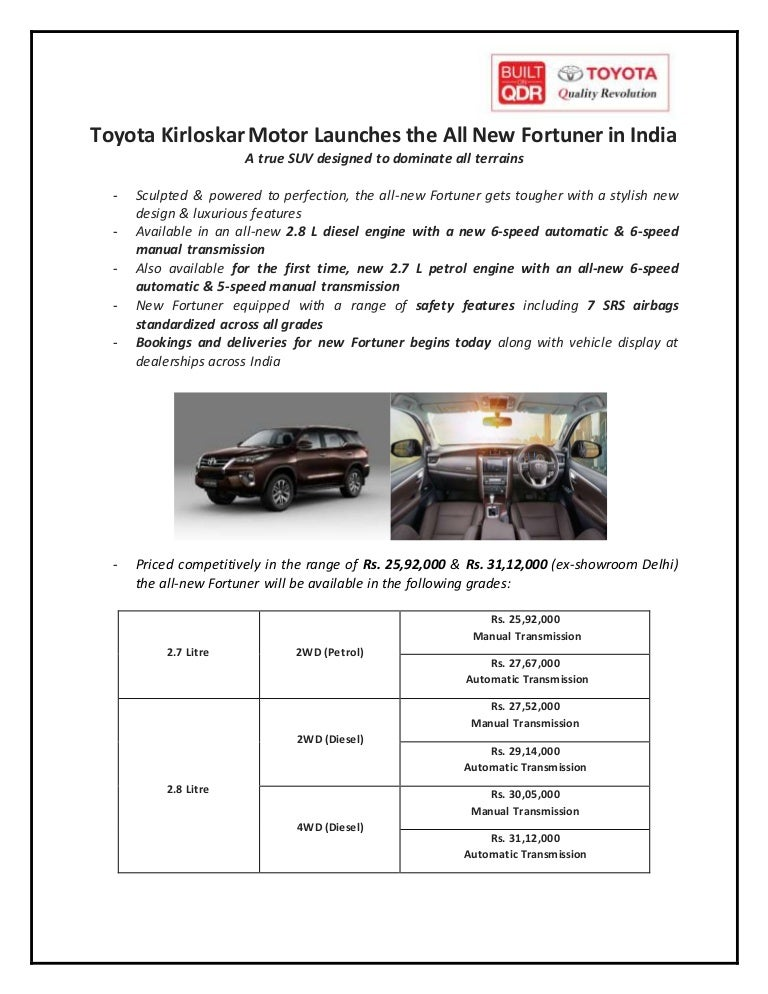new car press releaseNew Toyota Fortuner Launch India  Press Release