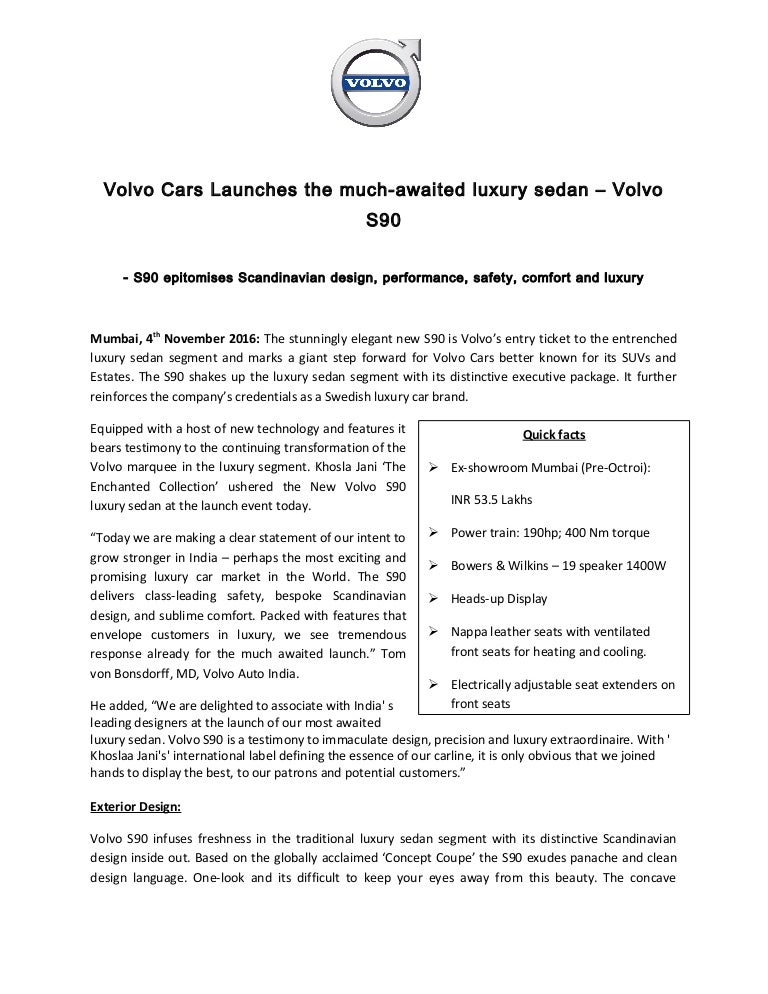 new car launch press releaseVolvo S90 India Launch  Press Release
