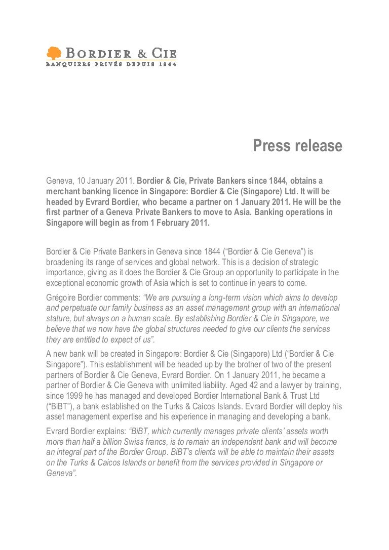 press release singapore