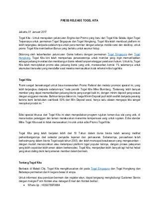 Press release agen togel togel kita togel singapura