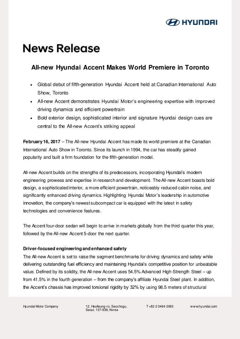 new car launch press release2018 Hyundai Accent  Press Release