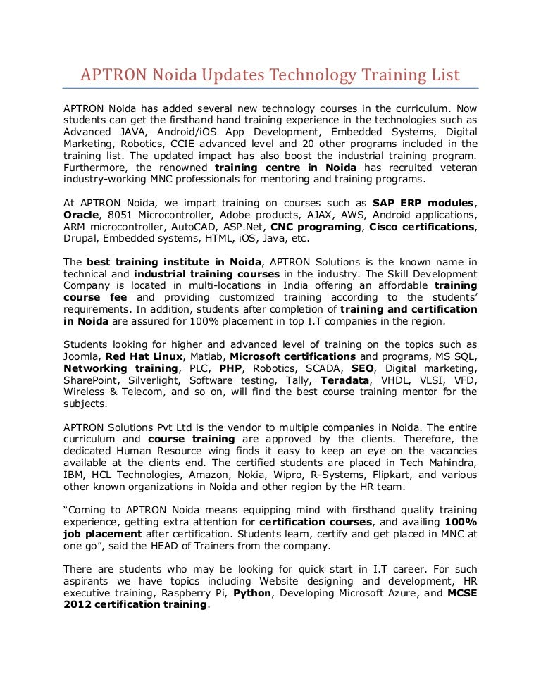 Aptron Noida Updates Technology Training List