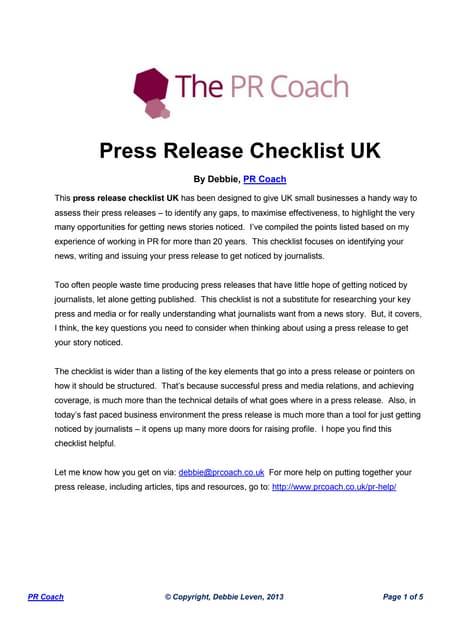 Press release checklist UK