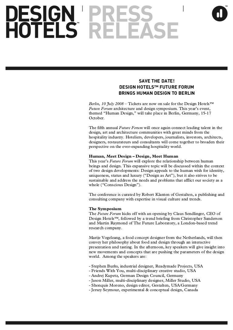 ca53c334280e6 DESIGN HOTELS - PRESS RELEASES 2008: SAVE THE DATE! DESIGN HOTELS™ FU…