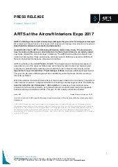 Press Release: ARTS at the Aircraft Interiors Expo 2017