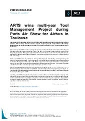 Press Release: ARTS wins multi-year Tool Management Project at Paris Air Show