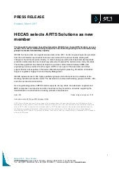 Press Release - HECAS selects ARTS SOLUTIONS as new member