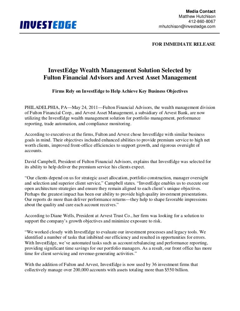 Press Release Fulton And Arvest Final 5 23 11