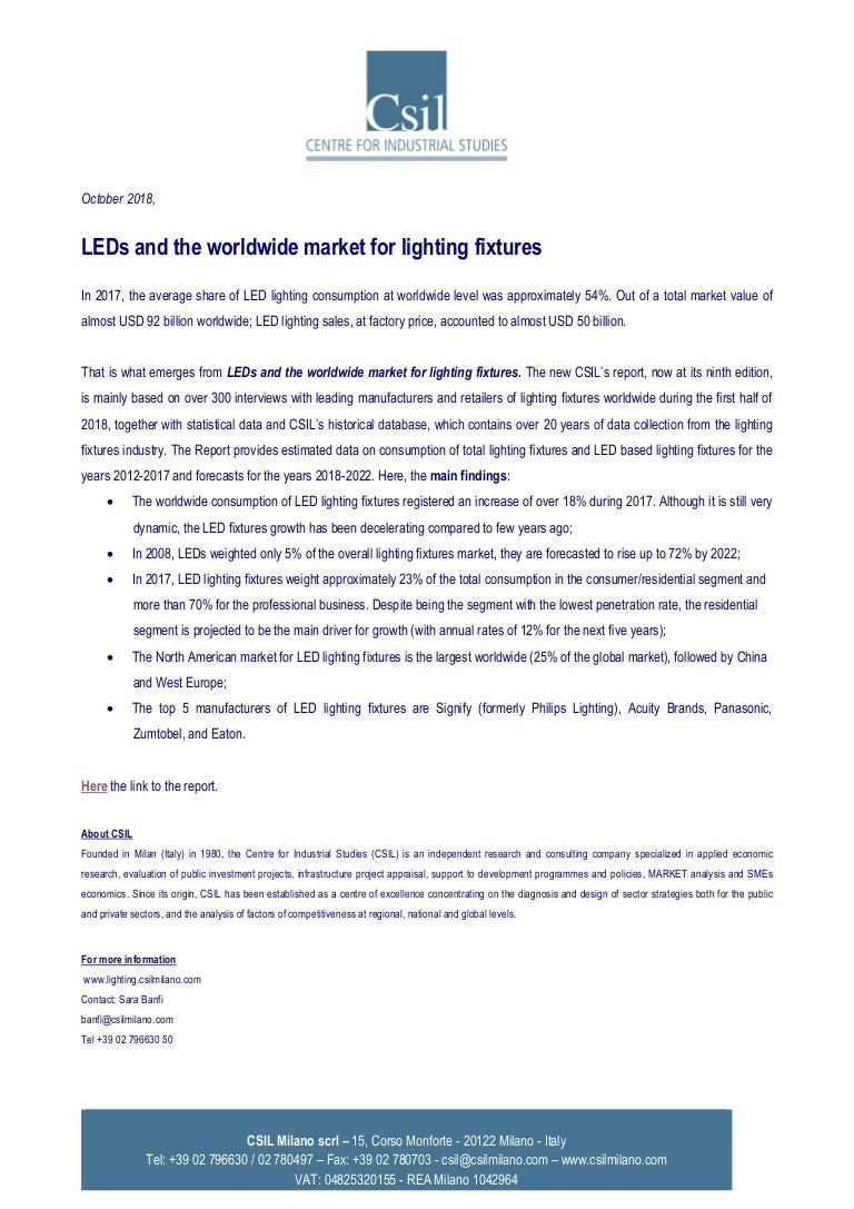 Press release csil leds and the worldwide market for lighting fixtures 2018