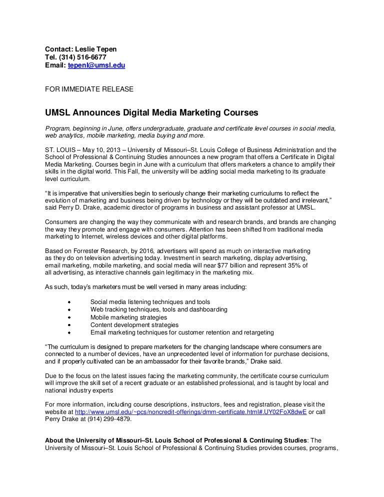 Umsl Announces Digital Media Marketing Courses